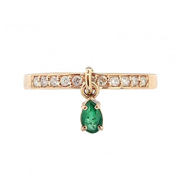 Ювелирное кольцо из красного золота 585 пробы с изумрудом и бриллиантами RDE-6904