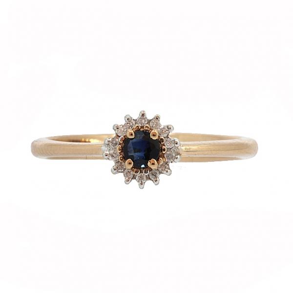 Ювелирное кольцо из красного золота 585 пробы с сапфиром и бриллиантами RDS-5566