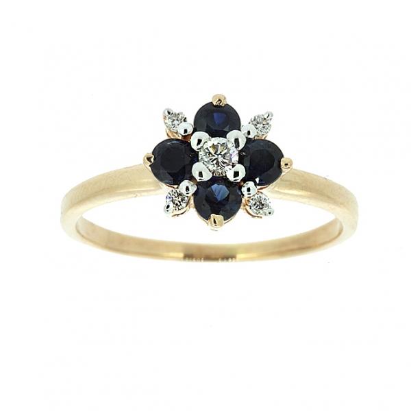 Ювелирное кольцо из красного золота 585 пробы с сапфирами и бриллиантами RDS-6760