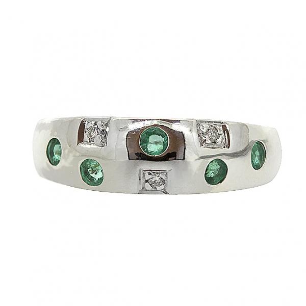Ювелирное кольцо из серебра 925 пробы с изумрудами и бриллиантами RDE-6048Ag