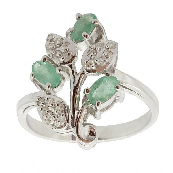 Ювелирное кольцо из серебра 925 пробы с изумрудами и бриллиантами RDE-6152Ag
