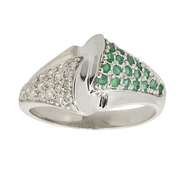 Ювелирное кольцо из серебра 925 пробы с изумрудами и фианитами RCzE-6450Ag