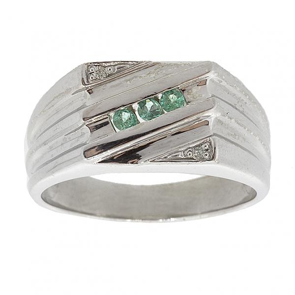 Ювелирное мужское кольцо из серебра 925 пробы с изумрудами и бриллиантами RDE-49631Ag
