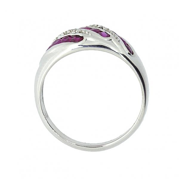 Серебряное кольцо 925 пробы с рубинами и бриллиантами RDR-6133Ag