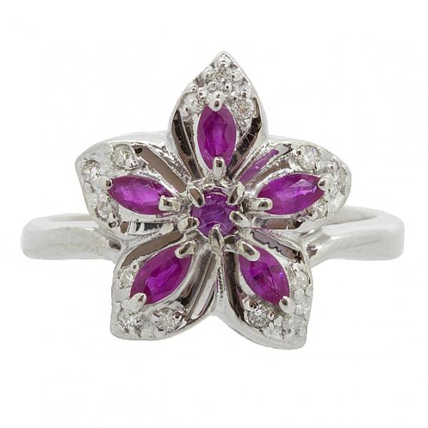 Ювелирное кольцо из серебра 925 пробы с рубинами и бриллиантами RDR-6142Ag
