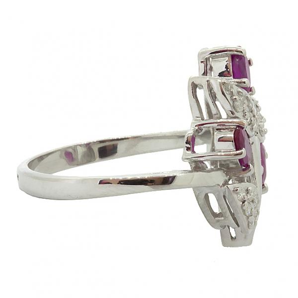 Ювелирное кольцо из серебра 925 пробы с рубинами и бриллиантами RDR-6152Ag