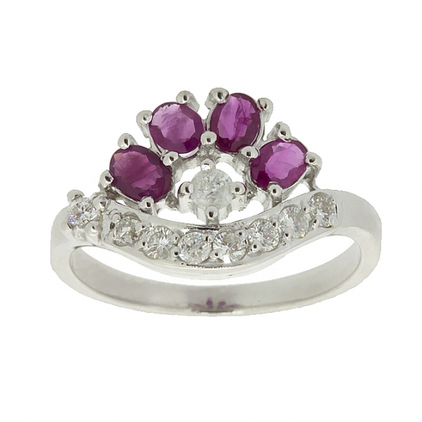 Ювелирное кольцо из серебра 925 пробы с рубинами и фианитами RCzR-6403Ag