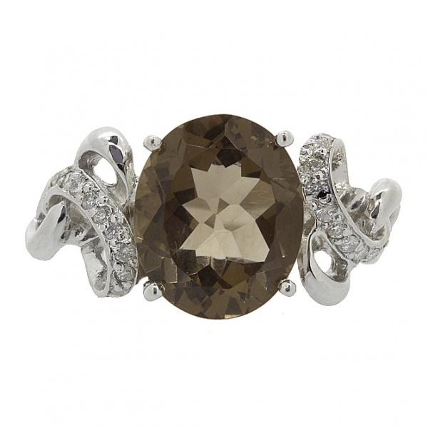 Ювелирное кольцо из серебра 925 пробы с раухтопазом и бриллиантами RDRt-6280Ag