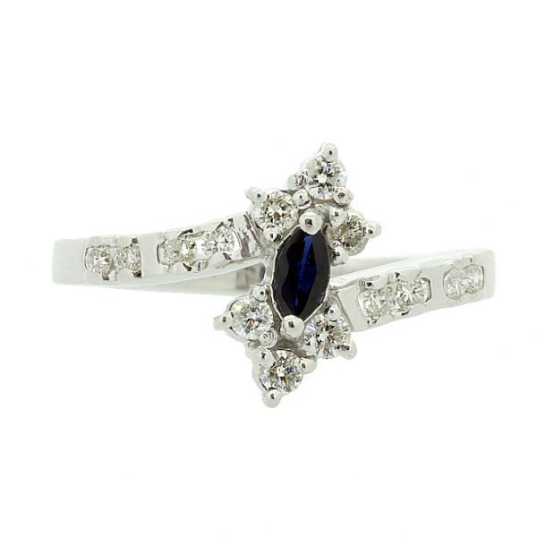Ювелирное кольцо из серебра 925 пробы с сапфиром и бриллиантами RDS-1024Ag