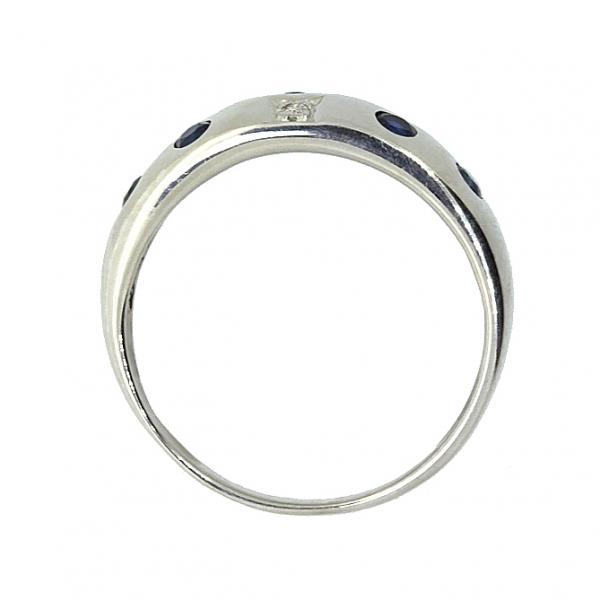 Ювелирное кольцо из серебра 925 пробы с сапфирами и бриллиантами RDS-6048Ag