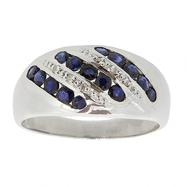 Серебряное кольцо 925 пробы с сапфирами и бриллиантами RDS-6133Ag