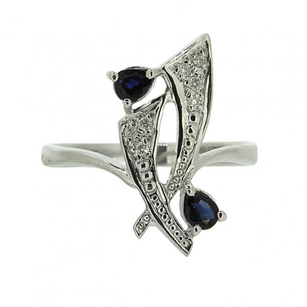 Ювелирное кольцо из серебра 925 пробы с сапфирами и бриллиантами RDS-6149Ag