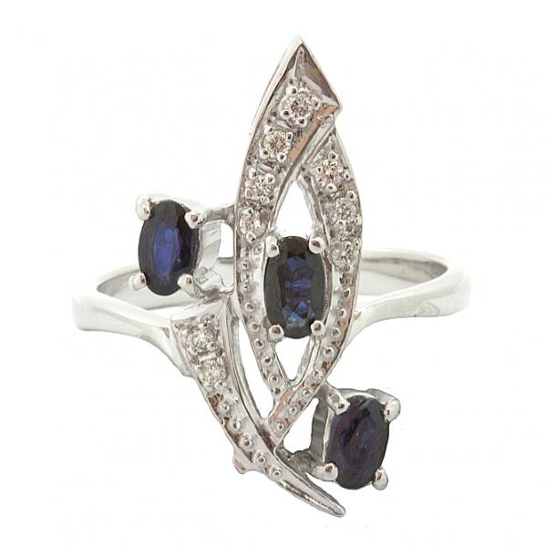 Ювелирное кольцо из серебра 925 пробы с сапфирами и бриллиантами RDS-6157Ag