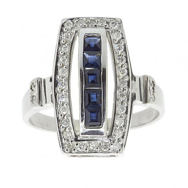 Ювелирное кольцо из серебра 925 пробы с сапфирами и бриллиантами RDS-6160Ag