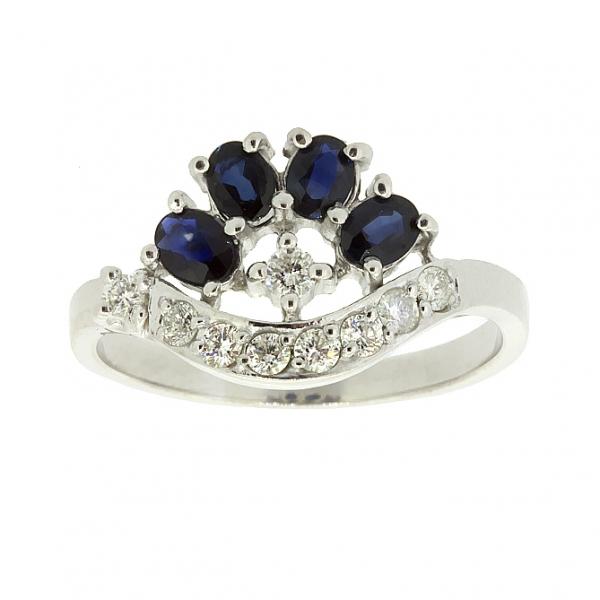 Ювелирное кольцо из серебра 925 пробы с сапфирами и фианитами RCzS-6403Ag