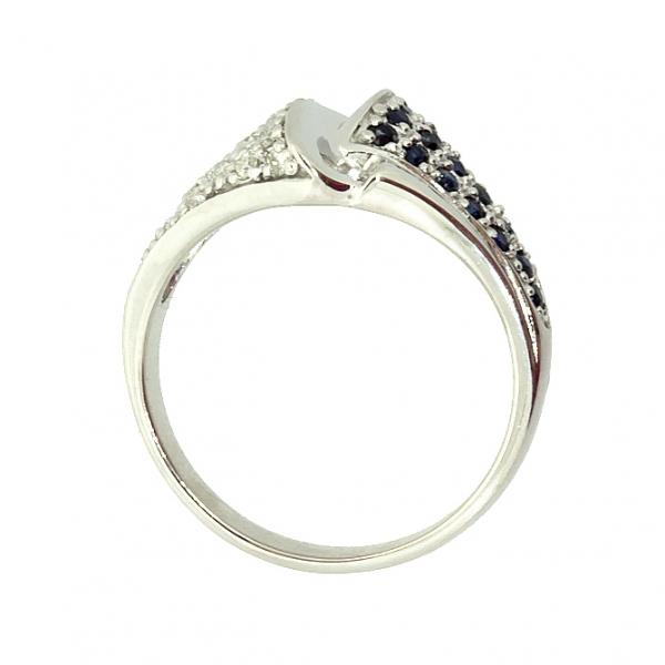 Ювелирное кольцо из серебра 925 пробы с сапфирами и фианитами RCzS-6450Ag