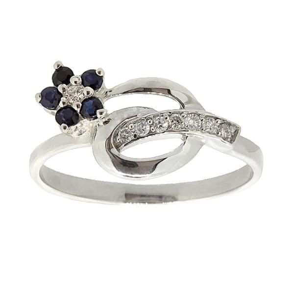Ювелирное кольцо из серебра 925 пробы с сапфирами и бриллиантами RDS-6488Ag