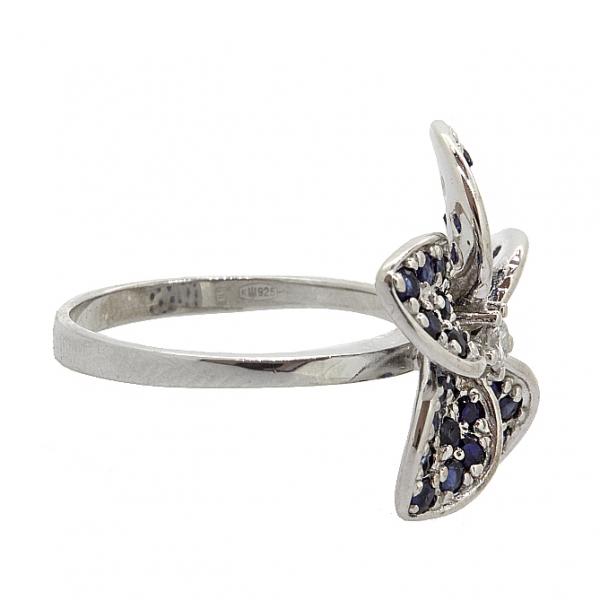 Ювелирное кольцо из серебра 925 пробы с сапфирами и фианитом RCzS-6503Ag