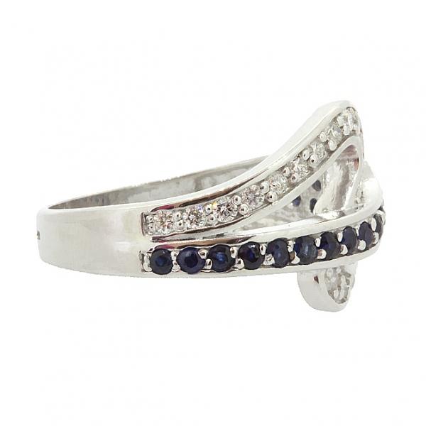 Ювелирное кольцо из серебра 925 пробы с сапфирами и бриллиантами RDS-6505Ag
