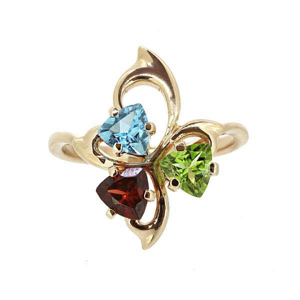 Ювелирное кольцо из красного золота 585 пробы с гранатом, топазом и хризолитом RTGnPd-6617