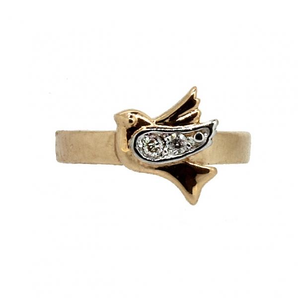 Ювелирные серьга-кафф из красного золота 585 пробы с бриллиантами ED-5621