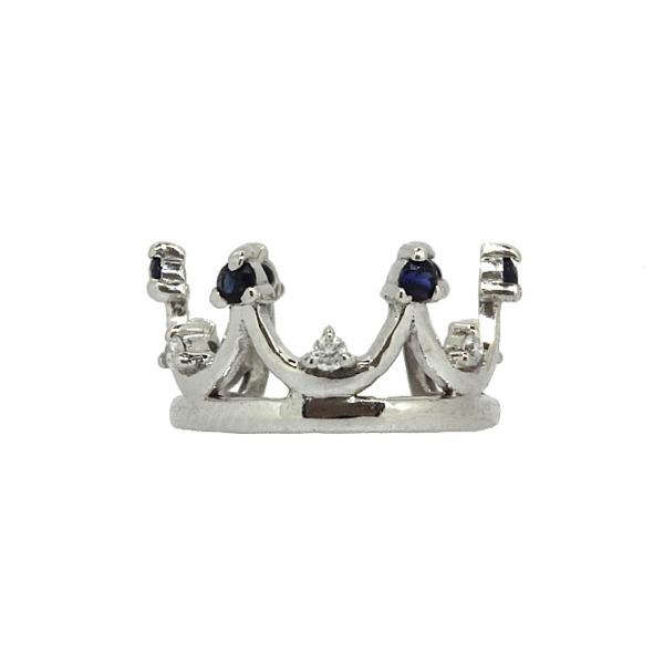 Ювелирная серьга-кафф из белого золота 585 пробы с сапфирами и бриллиантами EDS-6938w