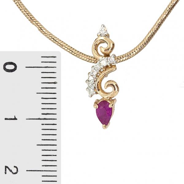 Ювелирная подвеска из красного золота 585 пробы с рубином и бриллиантами PDR-5594