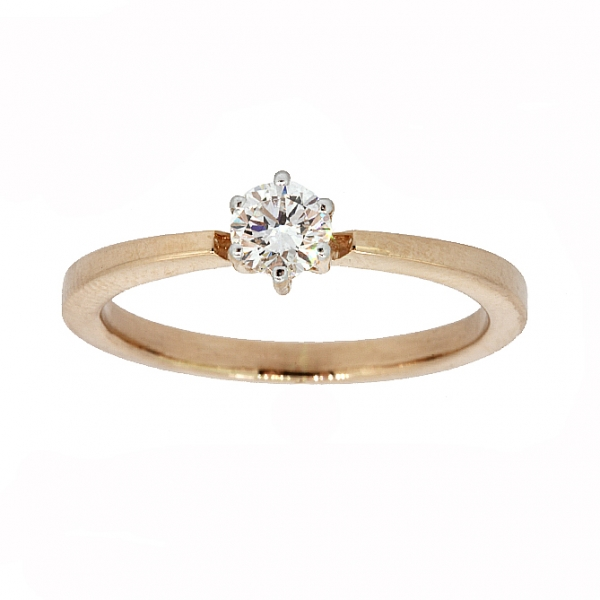 Ювелирное кольцо из красного золота 585 пробы с бриллиантом RD-6876