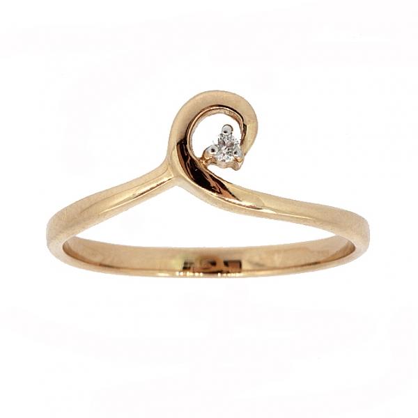 Ювелирное кольцо из красного золота 585 пробы с бриллиантом RD-6897