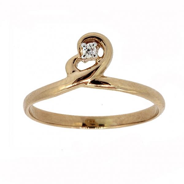 Ювелирное кольцо из красного золота 585 пробы с бриллиантом RD-6898