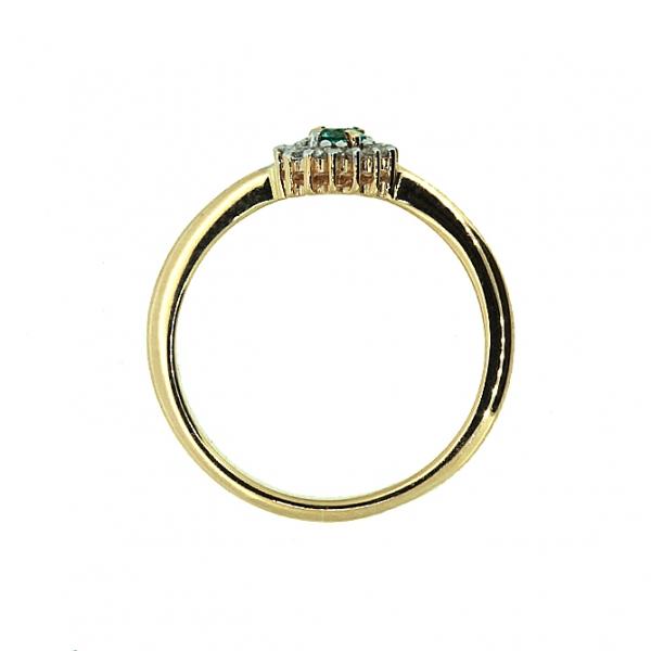 Ювелирное кольцо из красного золота 585 пробы с изумрудом и бриллиантами RDE-5566