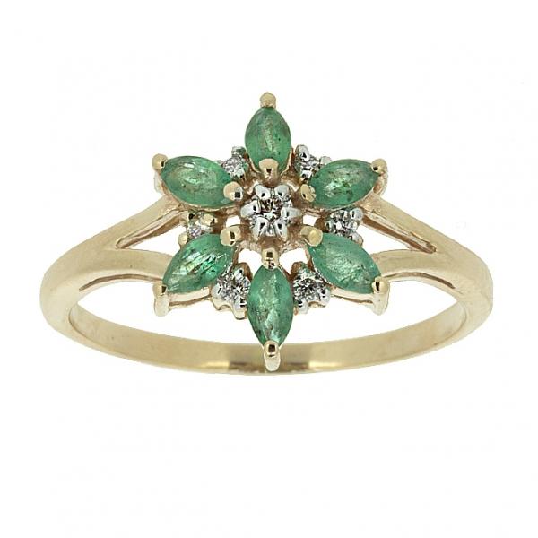 Ювелирное кольцо из красного золота 585 пробы с изумрудами и бриллиантами RDE-5575