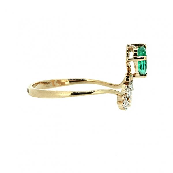 Ювелирное кольцо из красного золота 585 пробы с изумрудом и бриллиантами RDE-5602