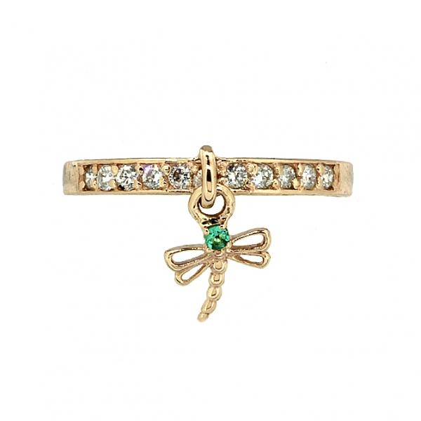 Ювелирное кольцо из красного золота 585 пробы с изумрудом и бриллиантами RDE-6903