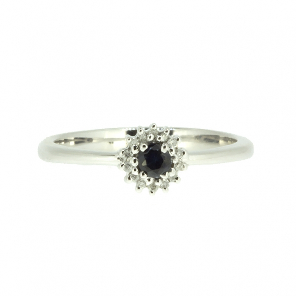 Ювелирное кольцо из белого золота 585 пробы с сапфиром и бриллиантами RDS-5566w