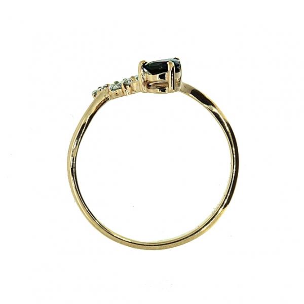 Ювелирное кольцо из красного золота 585 пробы с сапфиром и бриллиантами RDS-5602
