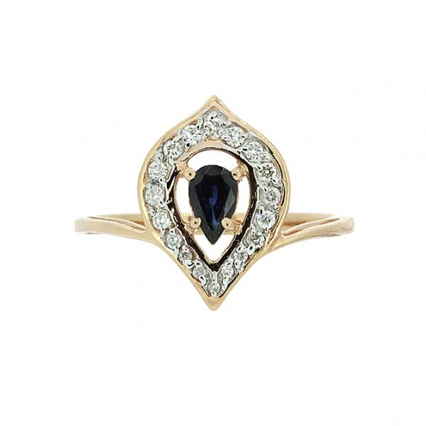 Ювелирное кольцо из красного золота 585 пробы с сапфиром и бриллиантами RDS-6840