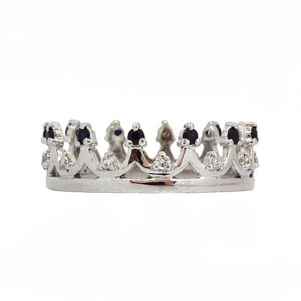 Ювелирное кольцо из белого золота 585 пробы с сапфирами и бриллиантами RDS-6927w