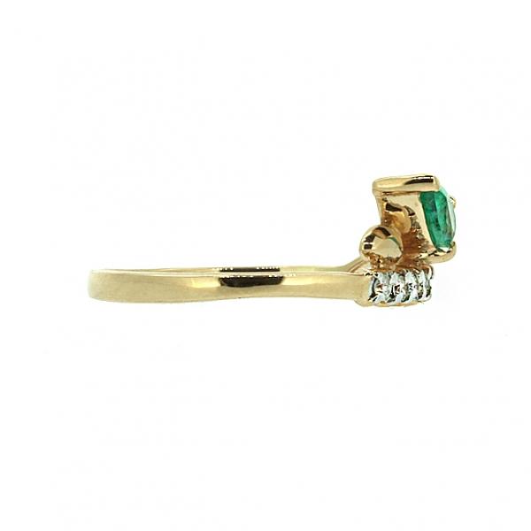 Ювелирное кольцо из красного золота 585 пробы с изумрудом и бриллиантами RDE-5596