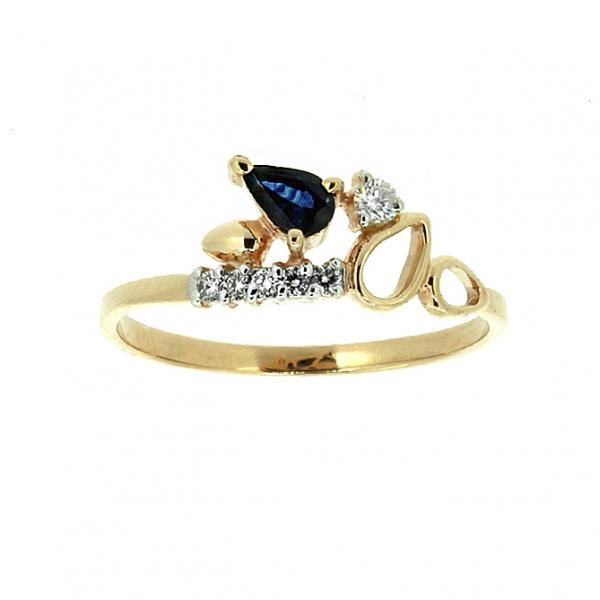 Ювелирное кольцо из красного золота 585 пробы с сапфиром и бриллиантами RDS-5596
