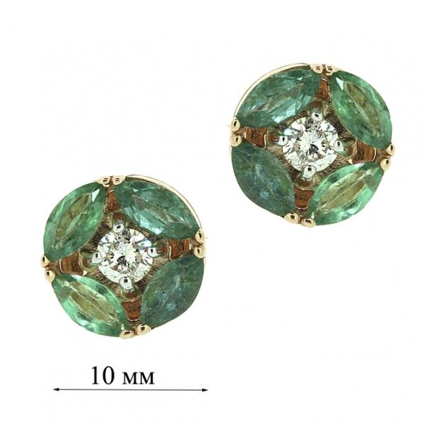 Золотые серьги-пусеты в красном золоте с изумрудами и бриллиантами EDE-6774