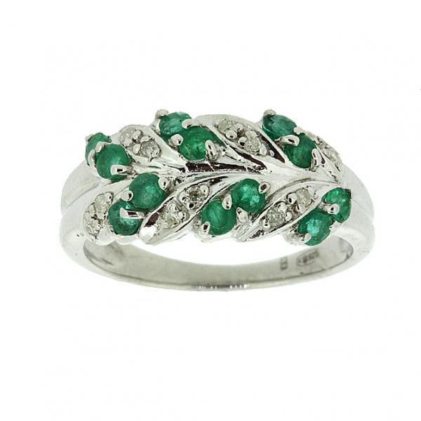 Ювелирное кольцо из серебра 925 пробы с изумрудами и бриллиантами RDE-15089Ag