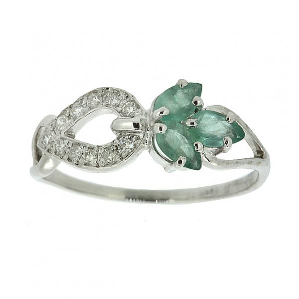 Ювелирное кольцо из серебра 925 пробы с изумрудами и бриллиантами RDE-6536Ag