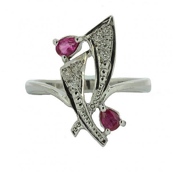 Ювелирное кольцо из серебра 925 пробы с рубинами и бриллиантами RDR-6149Ag