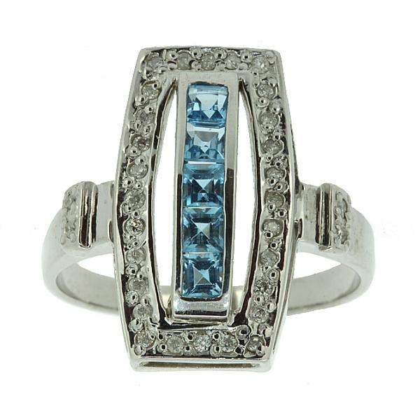 Ювелирное кольцо из серебра 925 пробы с топазами и бриллиантами RDT-6160Ag