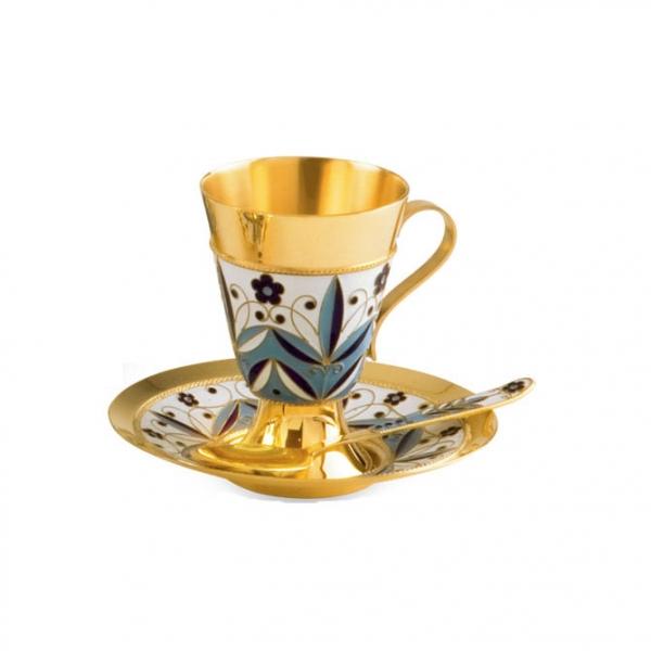 Чашка с блюдцем из серебра 925 пробы с эмалью на филиграни 27211+27212