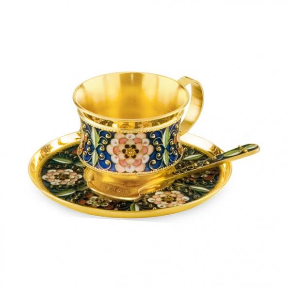 Чашка с блюдцем из серебра 925 пробы с эмалью на филиграни 27301+27302