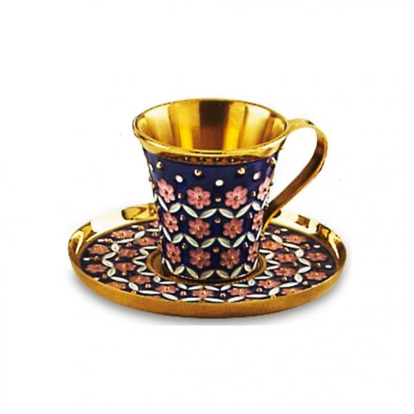 Чашка с блюдцем из серебра 925 пробы с эмалью на филиграни 27094+27095