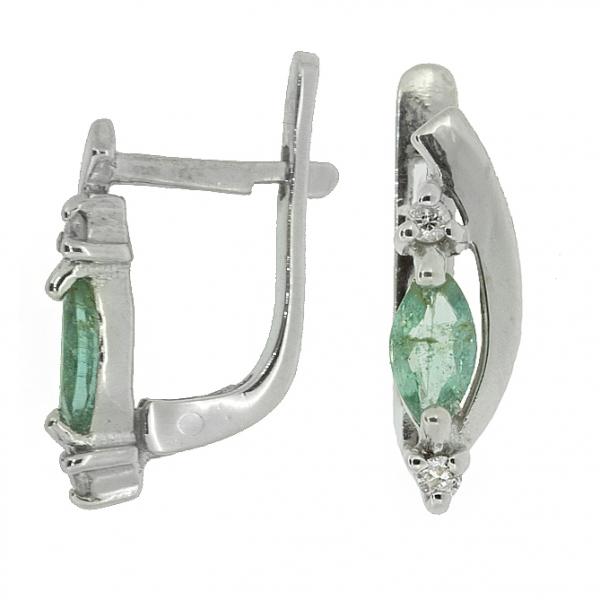 Ювелирные серьги из серебра 925 пробы с изумрудами и бриллиантами EDE-5571Ag