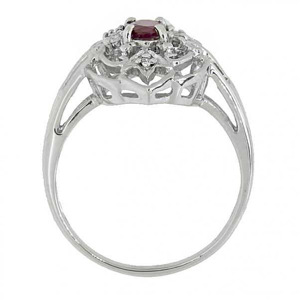 Ювелирное кольцо из серебра 925 пробы с рубином и бриллиантами RDR-1099Ag